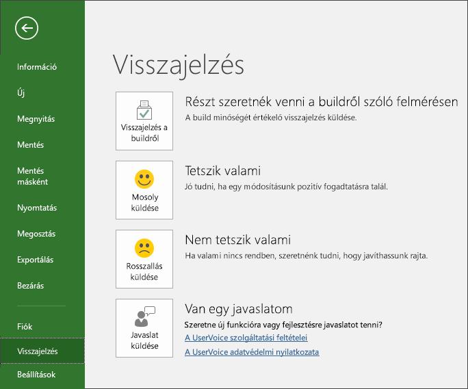 A Fájl > Visszajelzés elemre kattintva elküldheti a Microsoft Projecttel kapcsolatos véleményét és javaslatait.