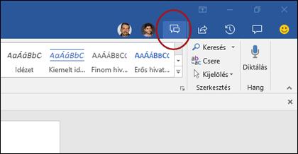 Csevegés ikon a Wordben
