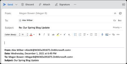 A Válasz gomb a Mac Outlookban.