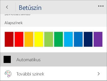 Képernyőkép a Betűszín menüről, amelyben az Automatikus lehetőség van kiválasztva.