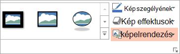 A kép elrendezése gomb látható a Formátum lap