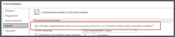 Az automatikus mentés engedélyezésére és letiltására szolgáló jelölőnégyzet a Fájl > Beállítások > Mentés prábeszédpanelen
