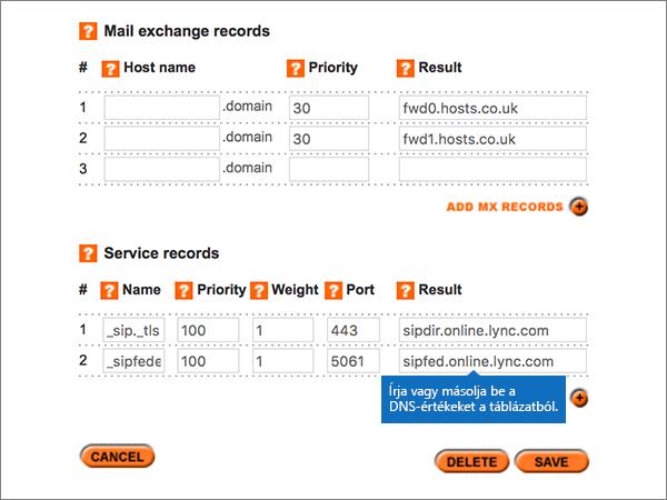 A szolgáltatás-rekordok szakasz értékek beírása