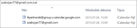 Kép, mely szemlélteti, hogy mit lát, miután kicsomagolta az exportált naptárát.