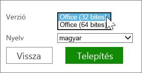 32 vagy 64 bites kiválasztása