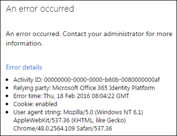 ADFS-konfigurációs hiba