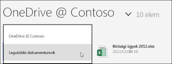 A OneDrive Vállalati verzió Nézet menüje