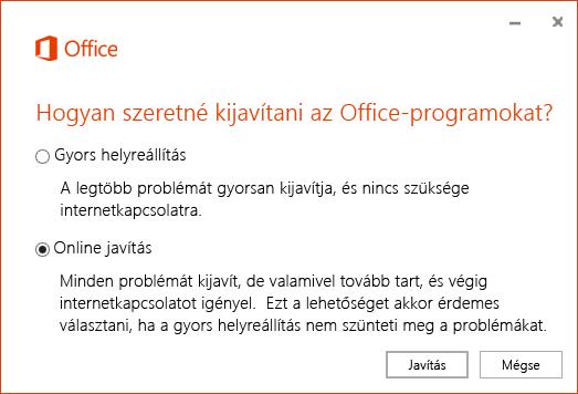Az Office Javítás párbeszédpanelje a OneDrive Vállalati verzió szinkronizálási alkalmazásának helyreállításakor