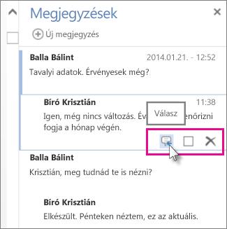Kép: megjegyzés alatt látható Válasz parancs a Word Web App Megjegyzések ablaktáblájában.