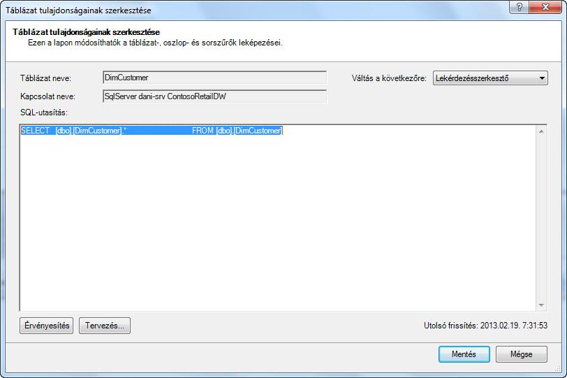 Az alapértelmezett, rövidebb szintaxist használó SQL-lekérdezés