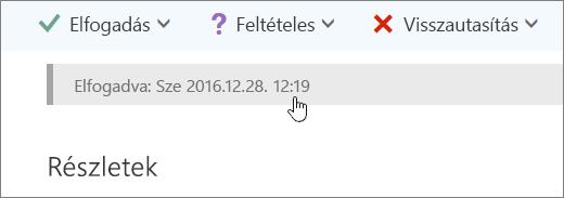 Képernyőkép elfogadott naptáreseményről.