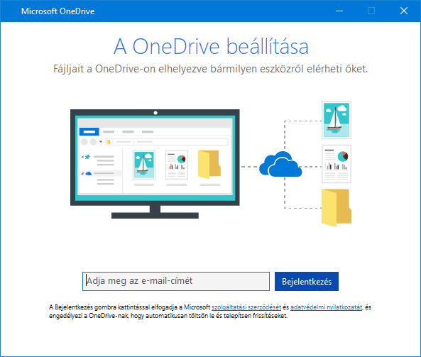 A OneDrive-telepítő új felhasználói felülete