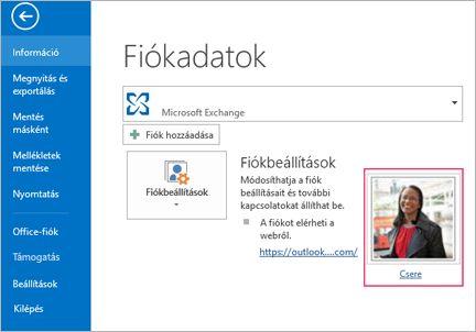Fénykép hivatkozások módosítása az Outlook programban