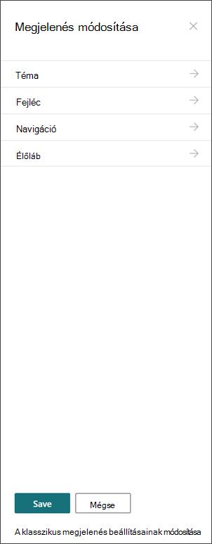 A megjelenés módosítása panel képe