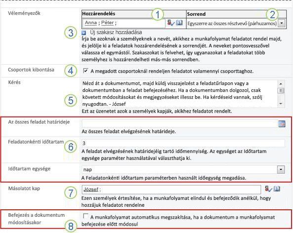 A társítási űrlap második lapja számozott beállításokkal