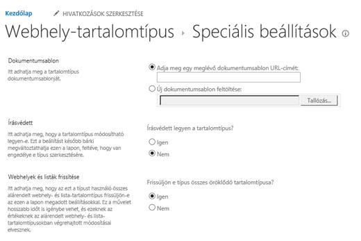 Írja be az URL-cím webhelytartalom-típus dokumentum-sablon: a Speciális beállítások lapon