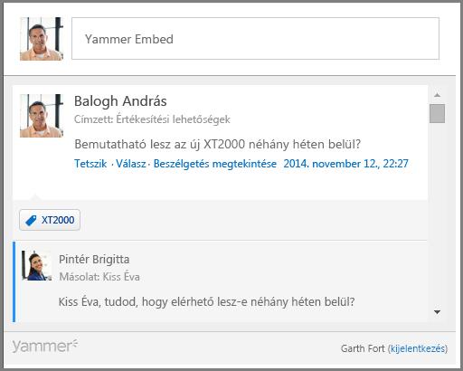 A Yammer Embed képernyőképe