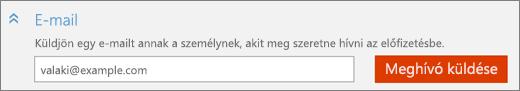"""Képernyőkép: közelkép a """"Felhasználó hozzáadása"""" párbeszédpanel """"E-mail"""" csoportjáról a """"Meghívó küldése"""" gombbal."""