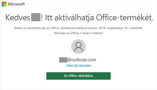 """Az eszközön az Office jelenlétét jelző """"Itt aktiválhatja Office-termékét"""" képernyő"""
