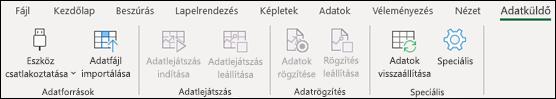 Az Adatküldő bővítmény az Excel menüszalagján