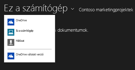 A OneDrive Vállalati verzió kiválasztása másik alkalmazásból
