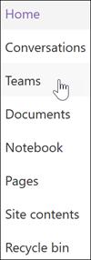 Microsoft Teams hivatkozás a SharePoint-csoportwebhely navigációs sávján