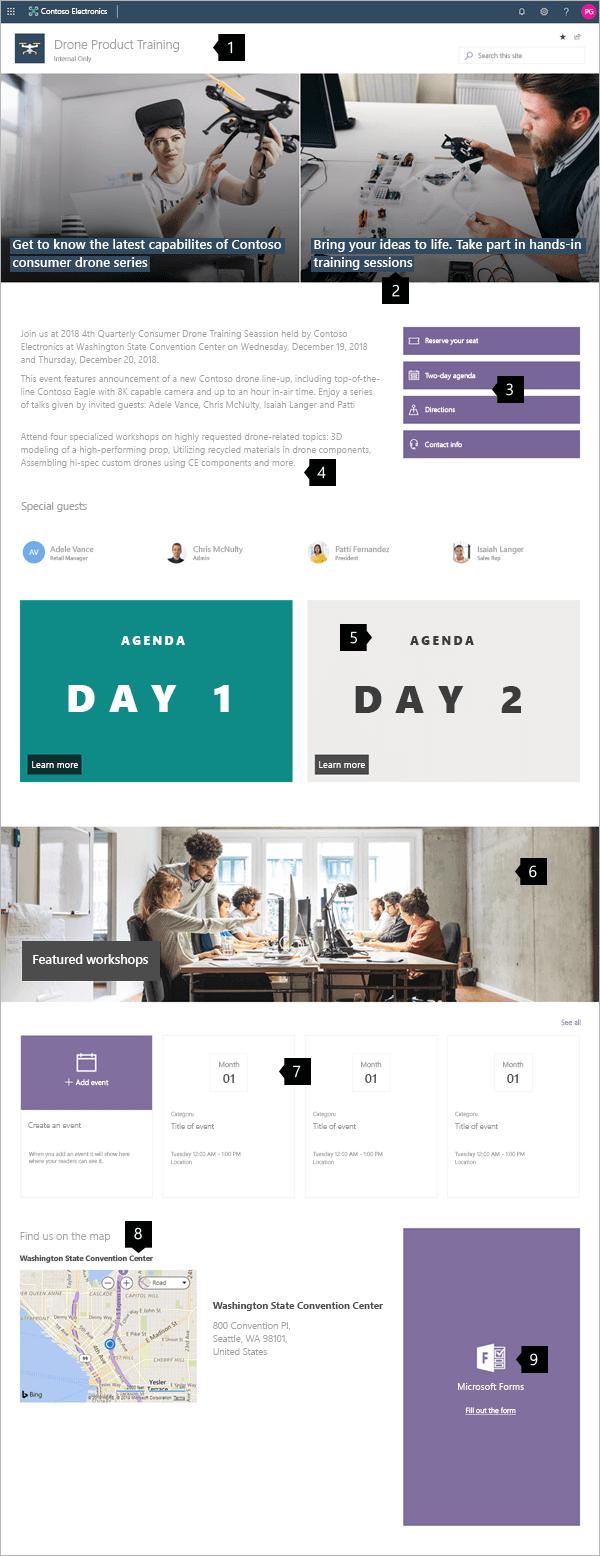 Példa modern workshop-webhelyre a SharePoint Online-ban