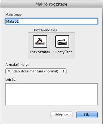 A Makró rögzítése parancs a Fejlesztőeszközök lap Kód csoportjában