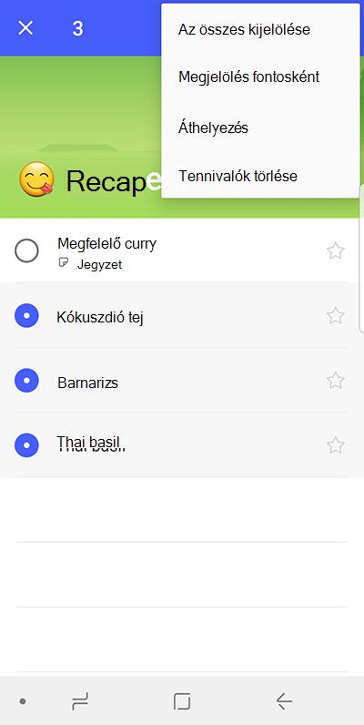 Képernyőkép a vezérlőt, amellyel áthelyezés tennivalók Android-eszközön