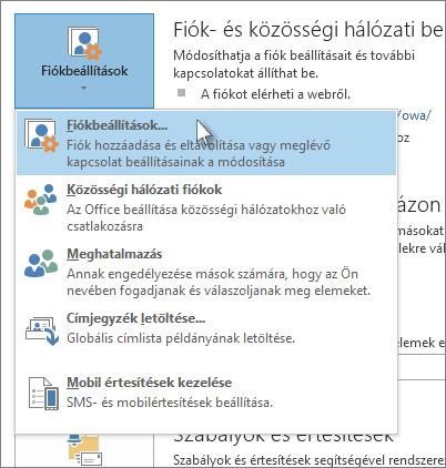 Kattintás a Fájl > Fiókbeállítások > Fiókbeállítások parancsra