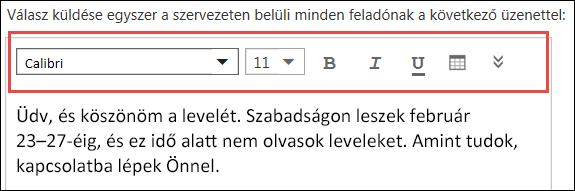 Automatikus válaszüzenet a Webes Outlookban