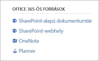 Erőforrások az Office365-höz