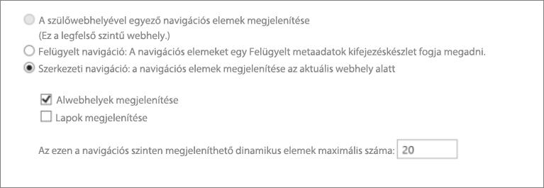 Képernyőkép az alwebhelyekről