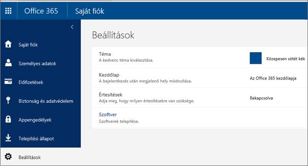 Office365-beállítások lapja