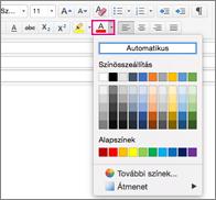 Betűtípusszín-választó a Mac Outlookban