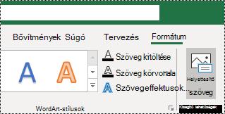 A helyettesítő szöveg gomb a Windows Excel menüszalagján