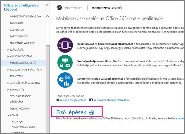 Az Office 365-ös mobileszköz-kezelés beállítása