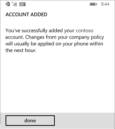 Complete workspace account on Windows Phone