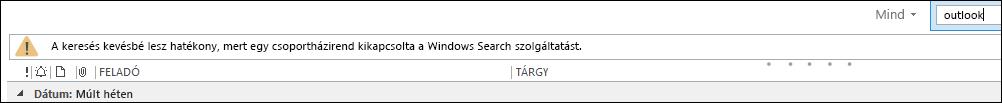 A Windows asztali kereső letiltva