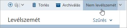 Képernyőkép: a nem levélszemét jelzővel gomb