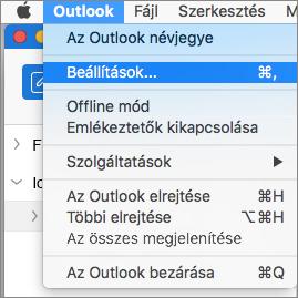 Az Outlook menüje a kiemelt Beállítások elemmel