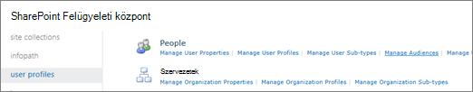 A Célközönségek kezelése hivatkozásra a felhasználói profilok lapján
