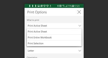 A Nyomtatás párbeszédpanel a rendelkezésre álló nyomtatási beállítások listájával