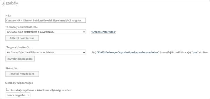 Képernyőkép: Új Szűrt levelek-szabály létrehozása és mentése