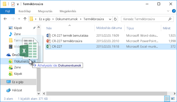 Fájlok húzása a OneDrive-ra