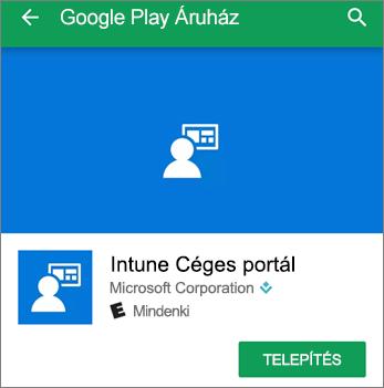 Képernyőkép az Intune váll. portál Telepítés gombjáról a Google Play Áruházban