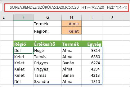 A SZŰRŐ és a SORBA.RENDEZ függvény együttes használata – Szűrés termék (alma) VAGY régió (kelet) szerint
