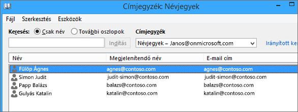 Ha névjegyeit importálta a Google Gmail szolgáltatásából az Office 365-be, láthatja őket a címjegyzékben: Névjegyek