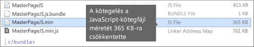 Csökkentett letöltési méretet megjelenítő képernyőkép