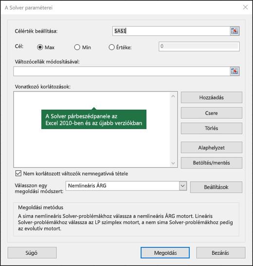 Kép az Excel 2010 + Solver párbeszédpanelről